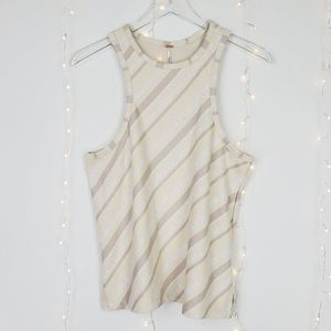 Free People Tan Striped Scoop Neck Tank Size Large